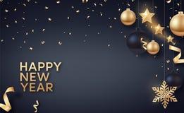 金子和黑圣诞节球与金星和大金黄雪花 库存图片