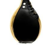 金子和黑皮革拳击加速在白色isloated的袋子 免版税库存照片