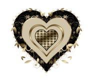 金子和黑色漩涡心脏 库存图片