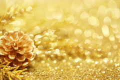 金子圣诞节背景 免版税库存照片