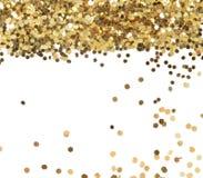 金子在白色的闪烁纹理 库存照片