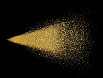 金子在黑背景的闪烁浪花 在行动的发光的下落 金黄不可思议的星团光微粒 明亮的闪烁爆炸 向量例证