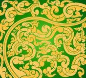 金子在绿色的艺术样式 库存例证