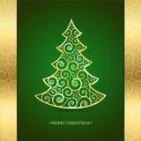 金子在绿色背景的圣诞树 免版税库存图片