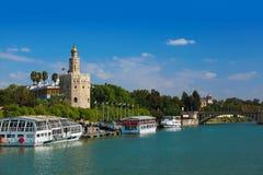 金子塔在塞维利亚西班牙 免版税库存照片