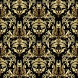 金子巴洛克式的传染媒介无缝的样式 华丽古色古香的锦缎后面 向量例证