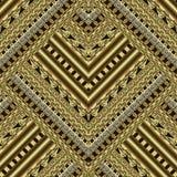 金子构造了华丽几何3d传染媒介无缝的样式 希腊语 皇族释放例证
