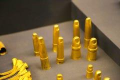 金子用脚尖踢-图坦卡蒙国王珍宝,埃及博物馆 库存照片