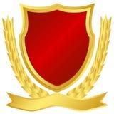 金子红色盾 免版税库存照片