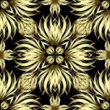 金子花卉3d传染媒介无缝的样式 装饰美好的华丽baackground 手拉的金黄花,叶子 重复葡萄酒 库存例证