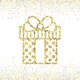 金子被加点的礼物盒 免版税图库摄影