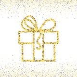 金子被加点的礼物盒 库存图片