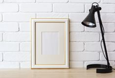 金子装饰了与黑灯的框架大模型 库存图片