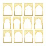 金子设计阿拉伯窗口赖买丹月Kareem 皇族释放例证