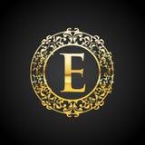 金子豪华商标设计的例证 库存照片