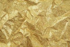 金子起皱纹的纸纹理摘要背景 免版税库存照片