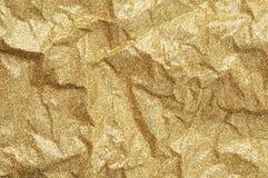 金子起皱纹的纸纹理摘要背景 免版税图库摄影