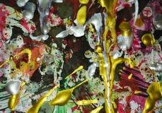 金子银色绿色r紫色闪耀的生动的斑点水彩纹理,银色黑暗的白色金黄绿色生动的树荫,抽象纹理 免版税图库摄影