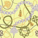 金子链无缝的传染媒介背景。 库存图片