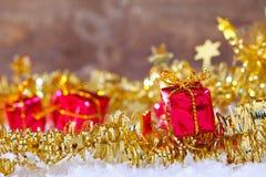 金子闪光圣诞节背景 库存照片