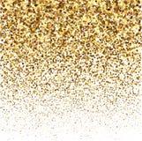 金子闪烁在白色背景的亮光纹理 五彩纸屑金黄爆炸  在白色的金黄抽象微粒 免版税库存照片