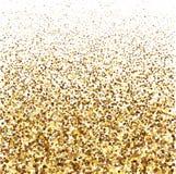 金子闪烁在白色背景的亮光纹理 五彩纸屑金黄爆炸  免版税库存图片