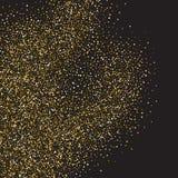 金子闪烁在黑背景的亮光纹理 五彩纸屑金黄爆炸  在黑暗的金黄抽象微粒 免版税库存图片