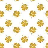 金子闪烁抽象四叶三叶草的无缝的样式  库存图片