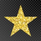 金子闪烁星 在黑透明背景的金黄sparcle星 琥珀色的微粒 库存例证