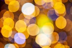 金子闪烁的圣诞灯 被弄脏的抽象背景,特写镜头 免版税库存图片