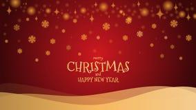 金子闪烁雪花与mery圣诞节和新年好 免版税库存照片