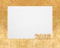 金子颜色与空白的白色greetin的新年2018 3d翻译 免版税库存图片