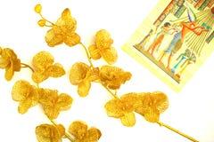 金子颜色两朵花,对角地,在纸莎草的样式 免版税库存照片