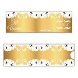 金子颜色典雅的折扣礼券  在维多利亚女王时代的样式的叶茂盛装饰品 对商店 免版税库存图片