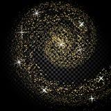 金子颜色的抽象波浪设计元素与闪烁作用的对在笼子的黑暗的背景 星系 例证 免版税库存照片