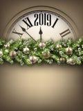 金子2019与时钟的新年背景 2007个看板卡招呼的新年好 向量例证