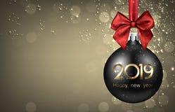 金子2019与黑圣诞节球的新年背景 库存例证