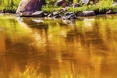 金子黄褐色科罗拉多河摘要默阿布犹他 库存图片