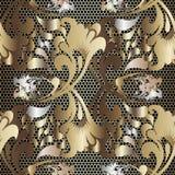 金子3d俄国种族样式花卉鞋带无缝的样式 织地不很细栅格格子高雅背景 葡萄酒巴落克式样锦缎 向量例证