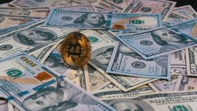金子Bitcoin硬币BTC转动,扭转,打旋,在表上的转动和秋天与美元 慢的行动 股票视频