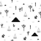 金字塔、印地安帐篷、柱仙人掌、龙舌兰和仙人掌仙人掌在白色背景 库存照片