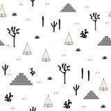 金字塔、印地安帐篷、柱仙人掌、龙舌兰和仙人掌仙人掌在白色背景 免版税库存照片
