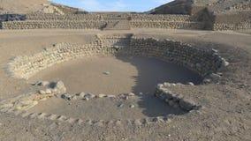 金字塔和一个圆形剧场在Bandurria,利马北部 库存图片