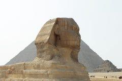 金字塔在埃及的沙漠和狮身人面象在吉萨棉 图库摄影