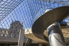金字塔,天窗,巴黎,法国的楼梯 图库摄影