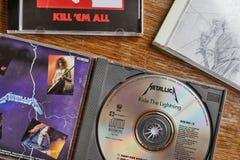 金属乐队乘坐闪电和其他CDs 库存照片