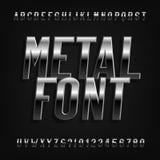 金属作用字母表字体 倾斜镀铬物信件、数字和标志 皇族释放例证