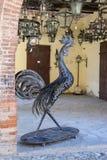 金属化一只雄鸡和灯笼的图在葡萄酒样式 Grazzan 免版税库存照片