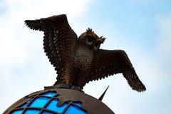 金属化与世界地球的猫头鹰反对蓝天 库存图片