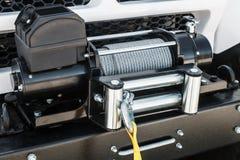 金属化在绞盘卷轴的缆绳运输的和自pullin 免版税库存照片
